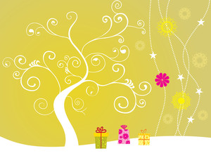 Funky Tree With Gifts Illustration