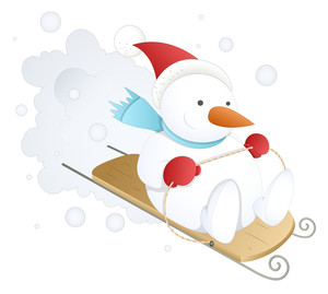 Funny And Cute Snowman - Christmas Vector Illustration