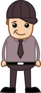 Funny Cool Professional Guy - Business Cartoon Character Vector