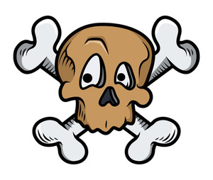 Funny Cute Crossed Skull Tattoo Vector Illustration