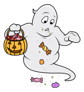 Funny Cute Ghost Carrying Candies - Halloween Vector Illustration