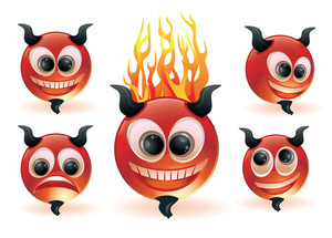 Funny Devils. Vector Icon Set.