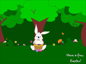 Funny Easter Bunny Under A Tree On Grass