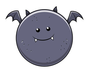 Funny Fat Bat - Halloween Vector Illustration