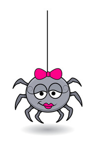Funny Female Spider Cartoon - Halloween Vector Illustration
