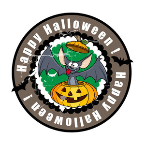 Funny Halloween Bat In Jack-o-lantern Vector