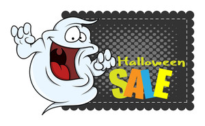 Funny Halloween Ghost Sale Banner