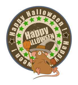 Funny Halloween Rat With Witch Hat