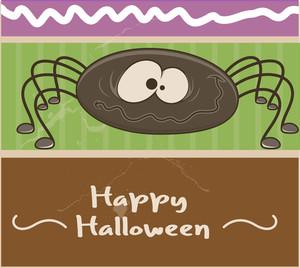 Funny Halloween Spider Vector Banner