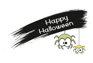 Funny Halloween Spiders Banner
