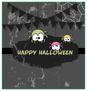 Funny Halloween Spiders Grunge Banner