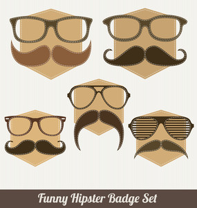 Funny Hipster Badge Set