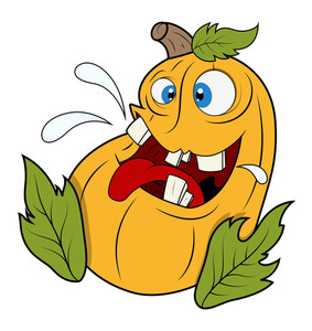 Funny Jack O' Lantern Pumpkin With Leaves - Halloween Vector Illustration