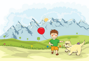 Funny Kid Playing With A Dog On The Mountain Side