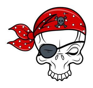 Funny Pirate Skull - Vector Cartoon Illustration