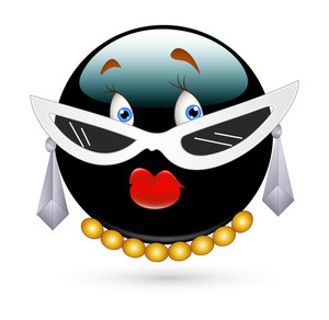 Funny Pretty Female Smiley With Eyewear And Jewels