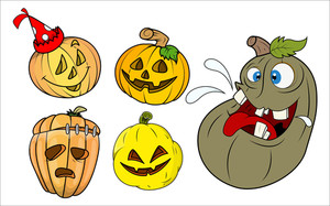 Funny Pumpkins And Jack O' Lantern Vectors