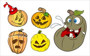 Funny Pumpkins And Jack O' Lantern Vectors