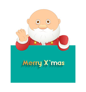 Funny Santa Claus With Christmas Banner
