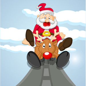 Funny Santa Coming On Reindeer