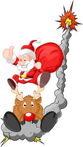 Funny Santa With Reindeer - Christmas Vector Illustration