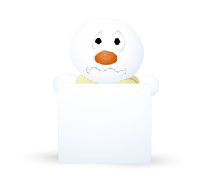 Funny Scared Snowman With Blank Banner