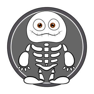 Funny Skeleton Ghost - Halloween Vector Illustration