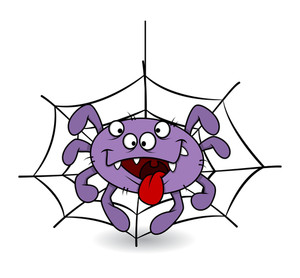 Funny Spider Tongue Out - Halloween Vector Illustration