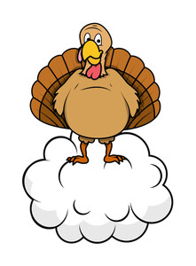 Funny Turkey On Cloud Vector