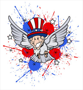 Funny Uncle Sam As  A Bird 4th Of July Vector Theme Design