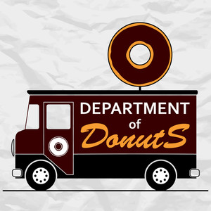 Funny Vector Illustration With Van And Donut