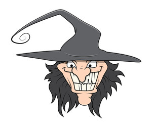 Funny Wicked Witch - Halloween Vector Illustration