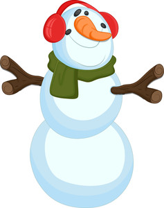 Funy Snowman - Christmas Vector Illustration