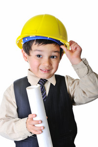 Future architect with plans