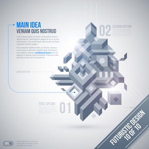 Futuristic Design Template With Geometric Element. 10 Of 10. Eps10.