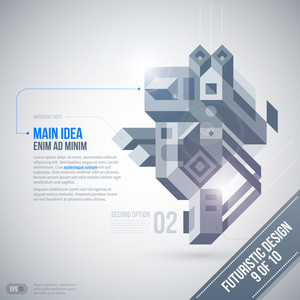 Futuristic Design Template With Geometric Element. 9 Of 10. Eps10.