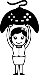 Game Remote Joystick - Office Character - Vector Illustration