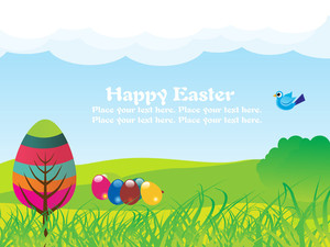 Garden Background With Colorful Egg