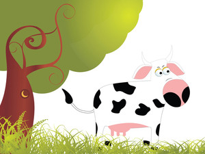 Garden Background With Cow