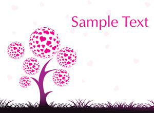 Garden Background With Love Tree