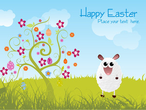 Garden Background With Tree And Sheep