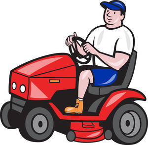 Gardener Mowing Rideon Lawn Mower Cartoon