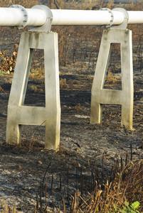 gas pipe line that laid through burn field