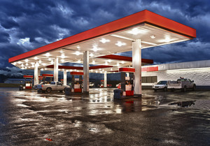 Gas Station Convenience Store On Rainy Evening