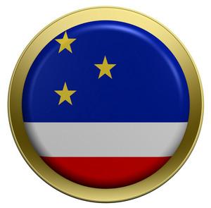 Gaugazia Flag On The Round Button Isolated On White.