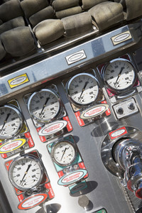 Gauges and dials on a fire engine