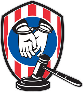 Gavel Handcuff Hand American Stripes Shield