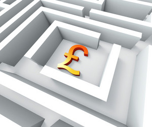 Gbp Currency In Maze Shows Finding Pounds