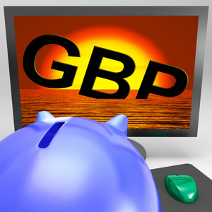 Gbp Sinking On Monitor Shows British Depression