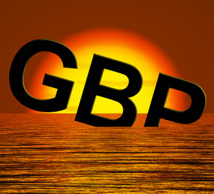 Gbp Word Sinking And Sunset Showing Depression Recession And Economic Downturn